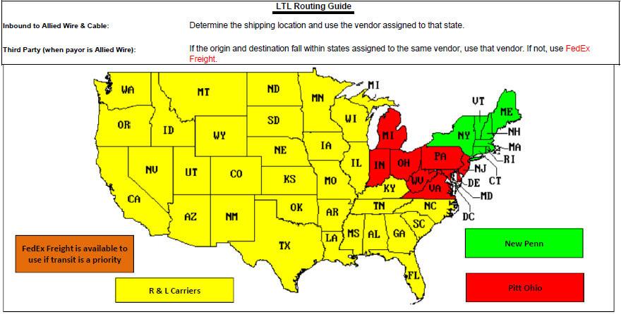 Pennsylvania LTL Routing Guide