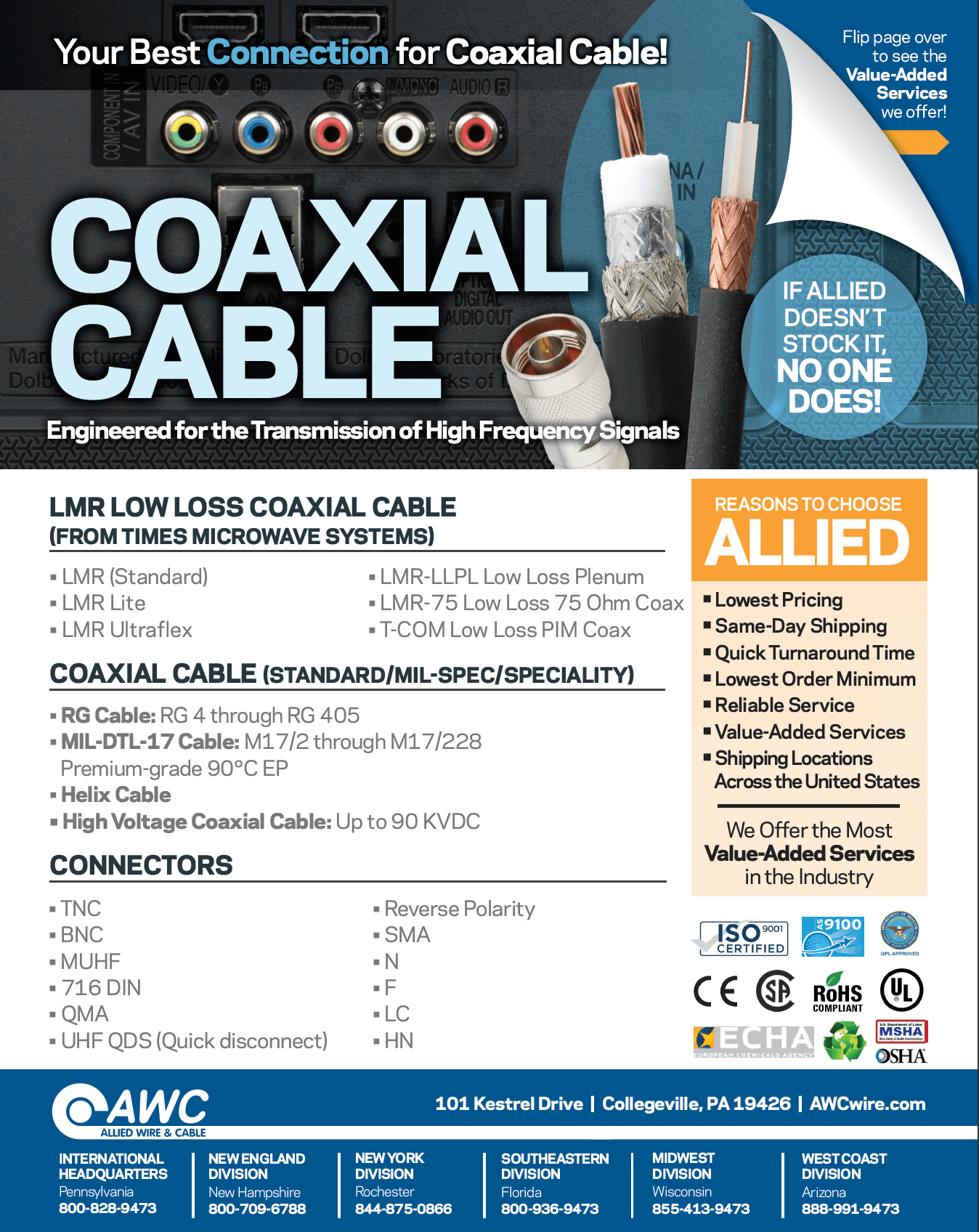 Coax Cable Line Card from Allied Wire & Cable