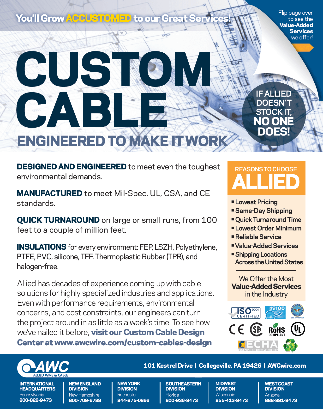 Custom Cable Line Card from Allied Wire & Cable