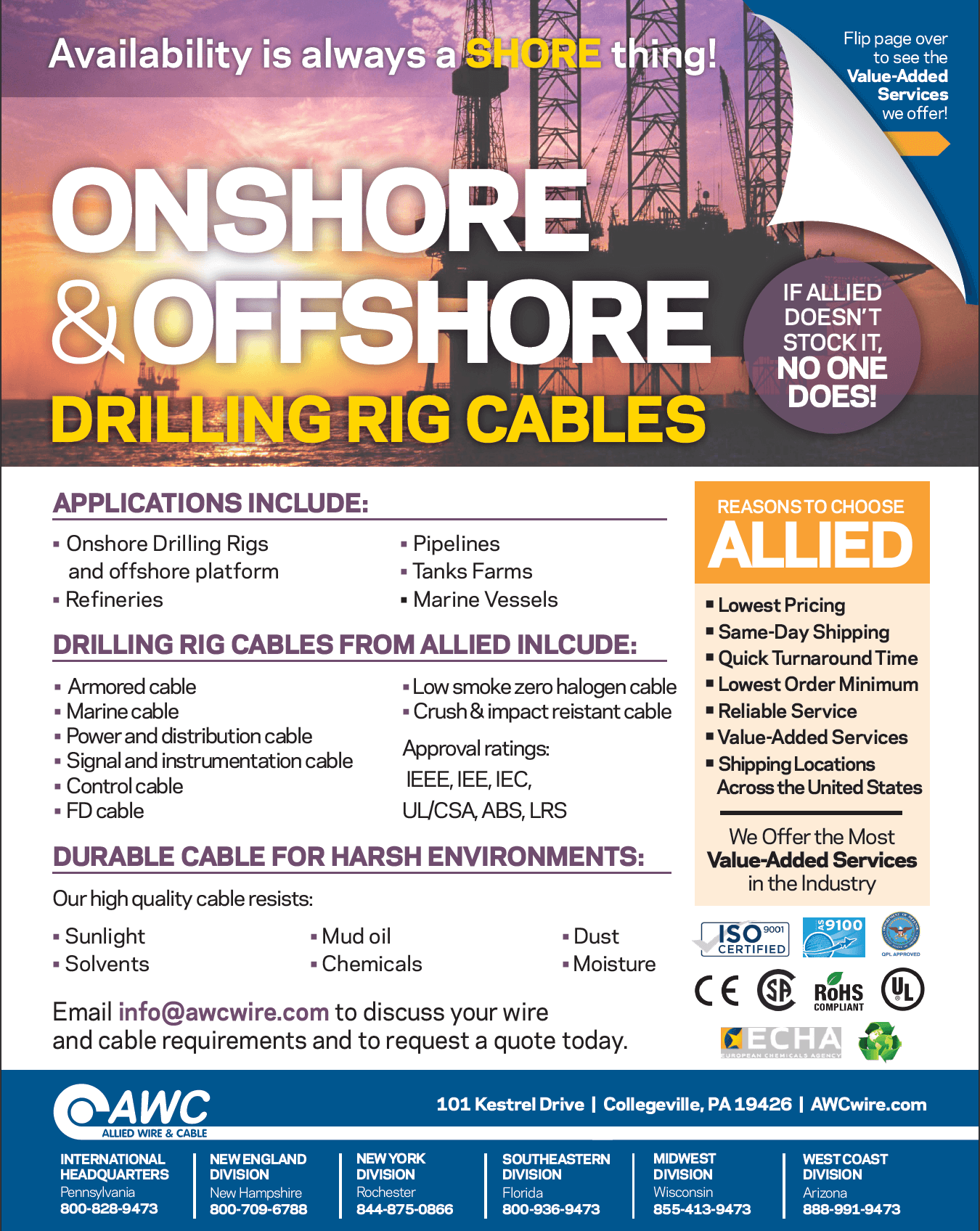 Onshore/Offshore Cable Line Card from Allied Wire & Cable