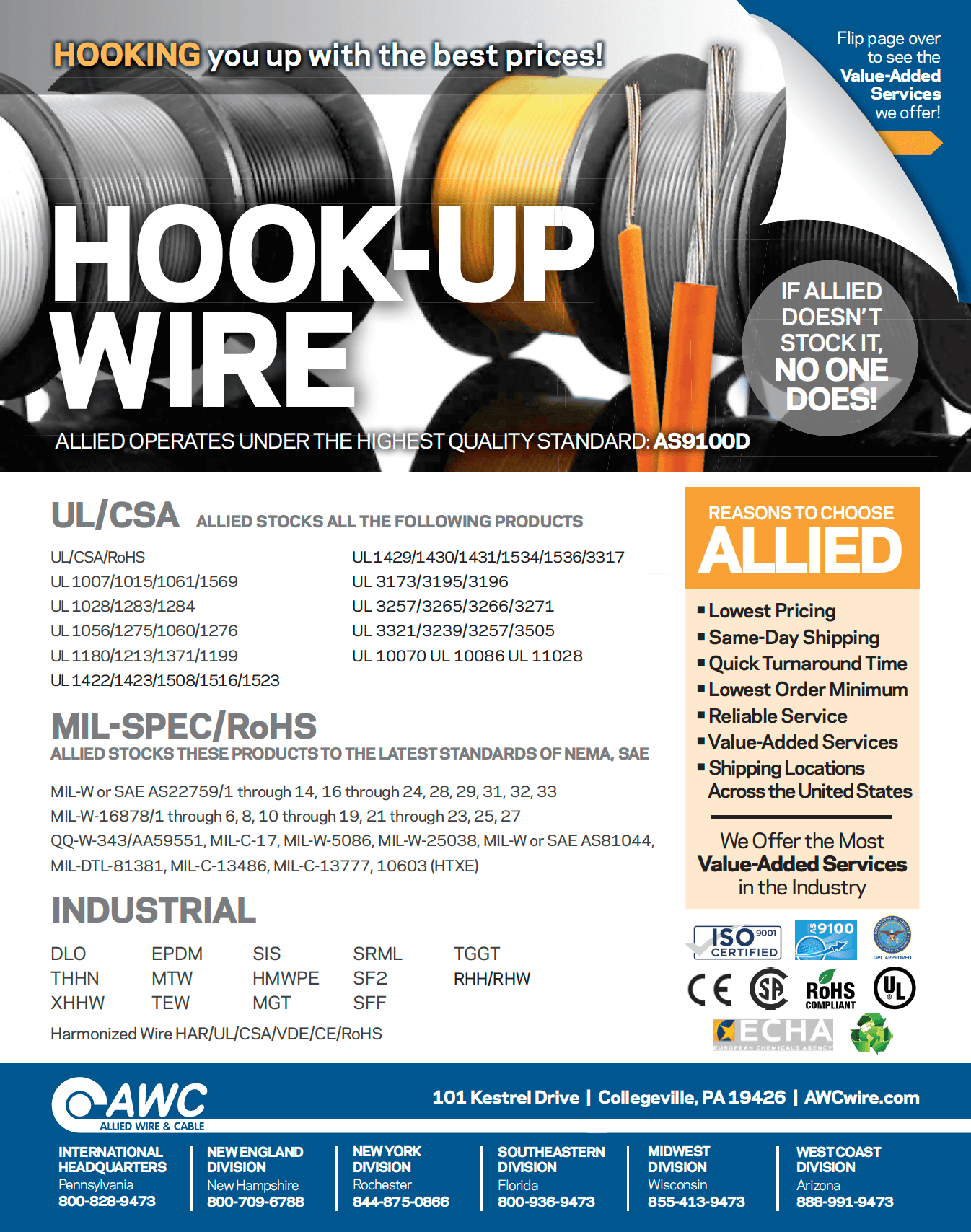 Hook Up Wire Line Card from Allied Wire & Cable