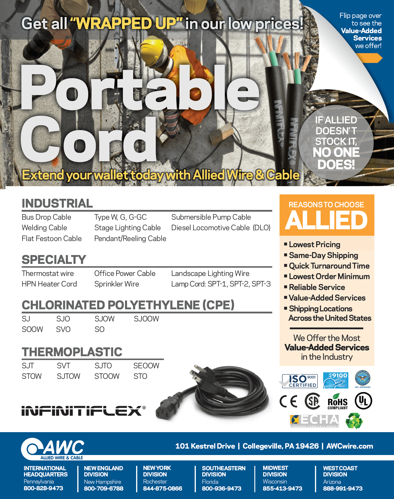 Portable Cord Line Card from Allied Wire & Cable