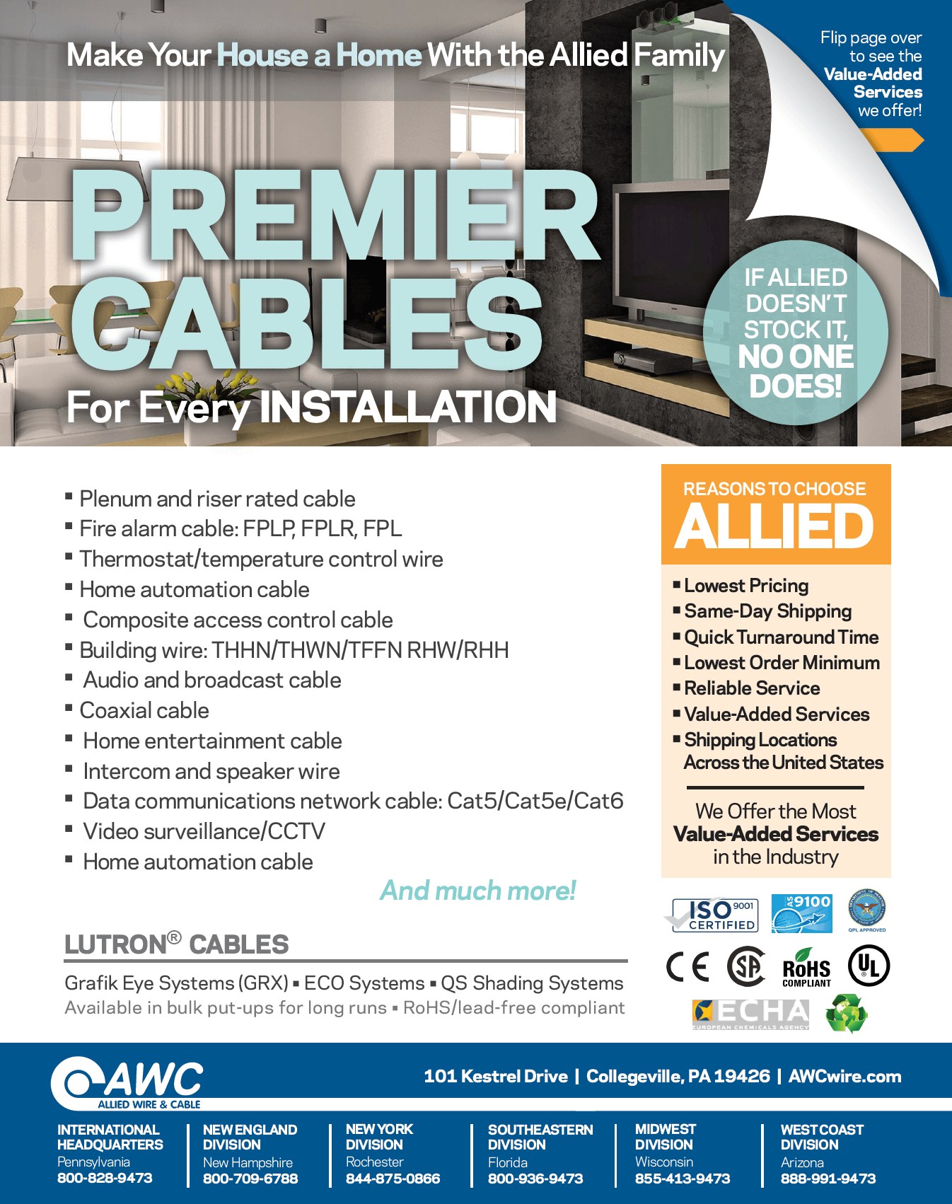Premier Cables Line Card from Allied Wire & Cable
