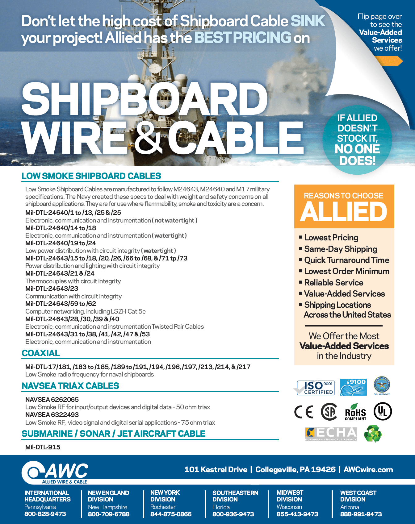Shipboard Wire & Cable Line Card from Allied Wire & Cable