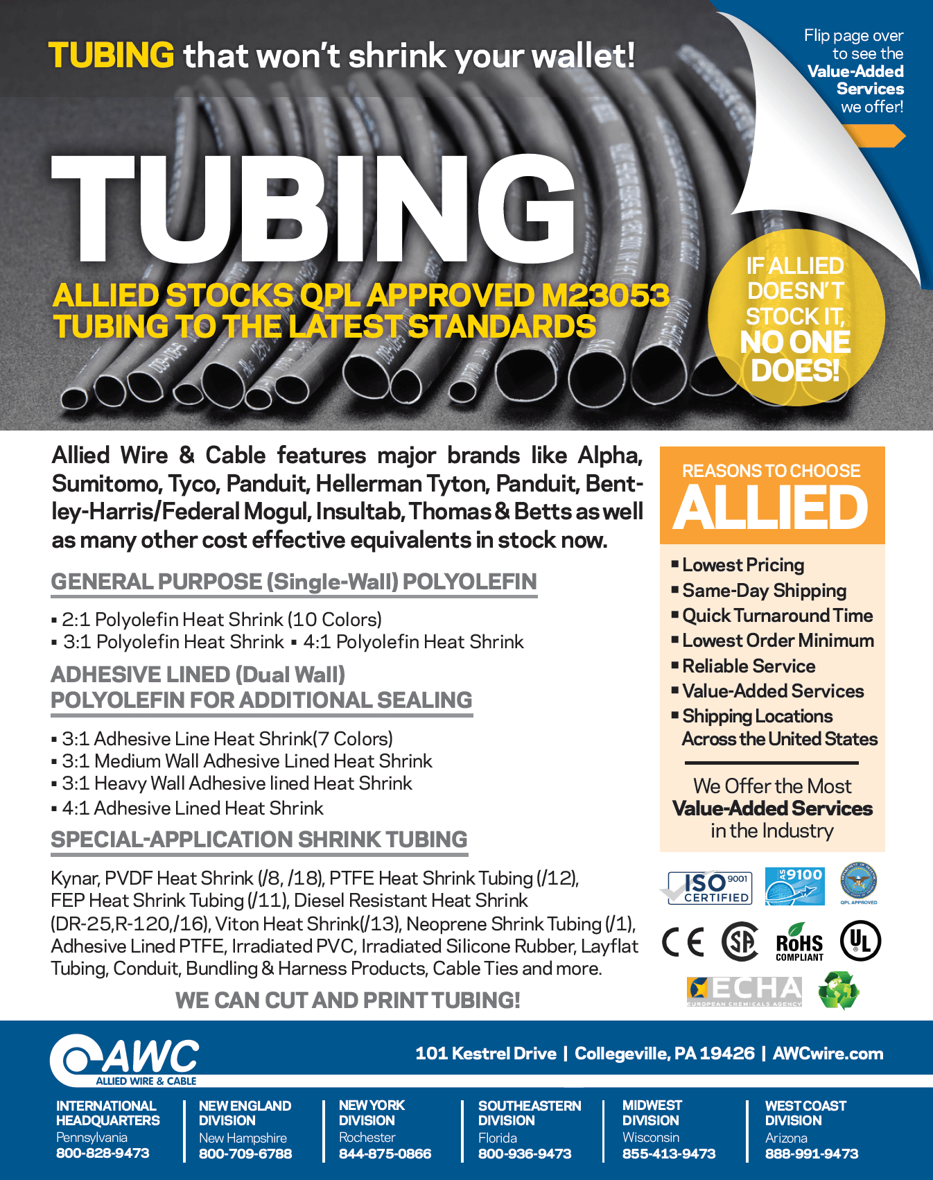 Tubing Line Card from Allied Wire & Cable