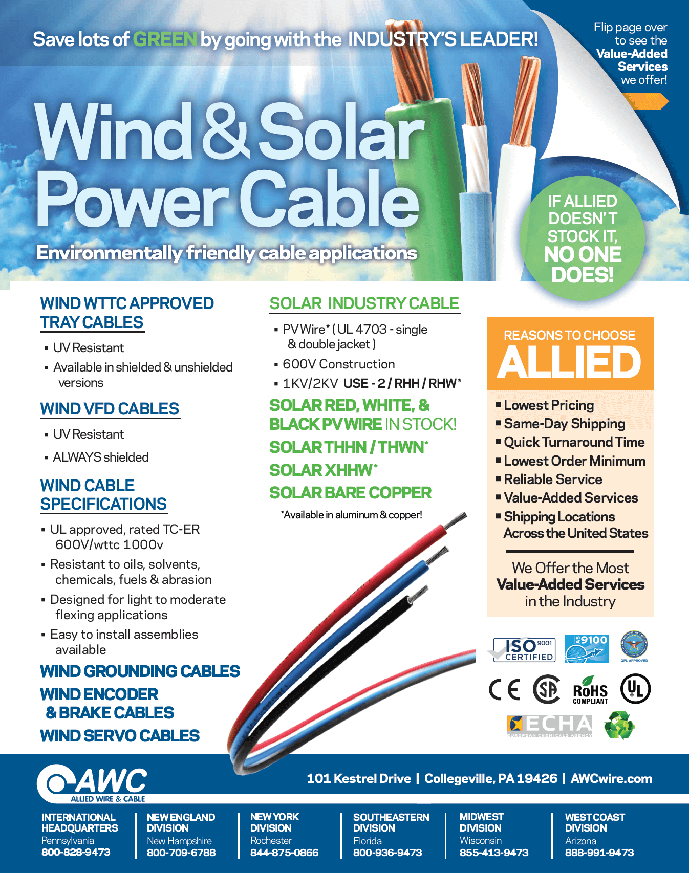 Wind & Solar Power Cable Line Card from Allied Wire & Cable